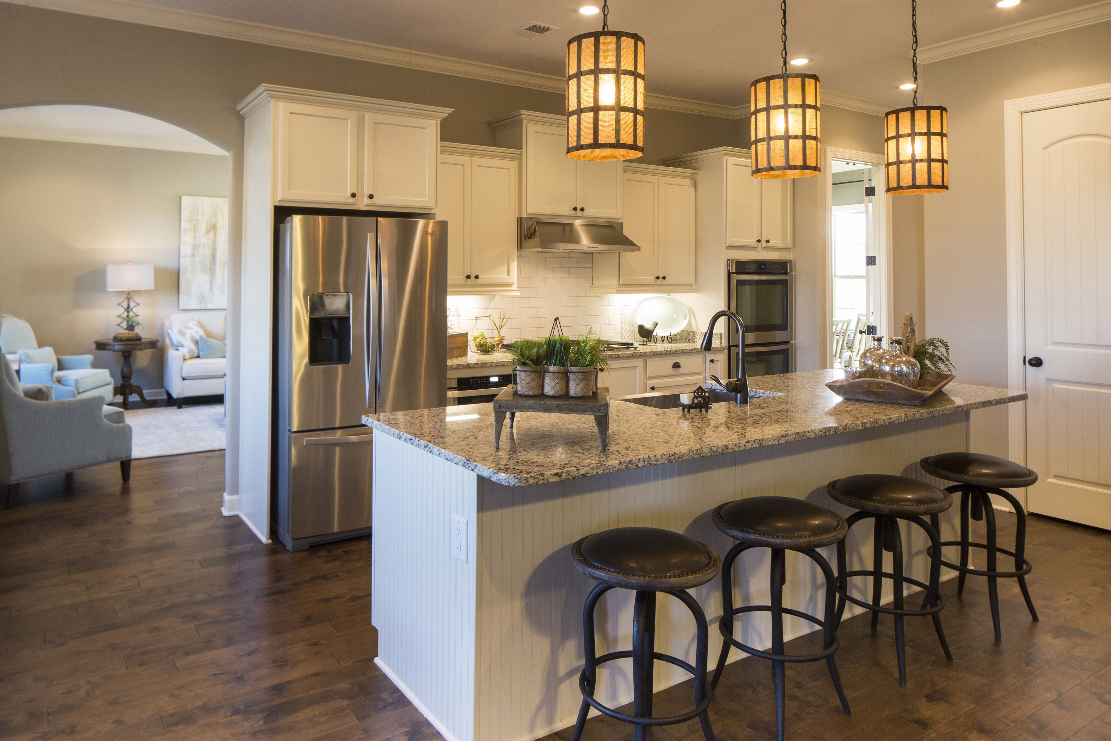 Regency Homebuilders Open Concept Living Large Kitchen Chiffon Cabinets Staggered Cabinets Farm Sin Building A House Staggered Kitchen Cabinets New Homes