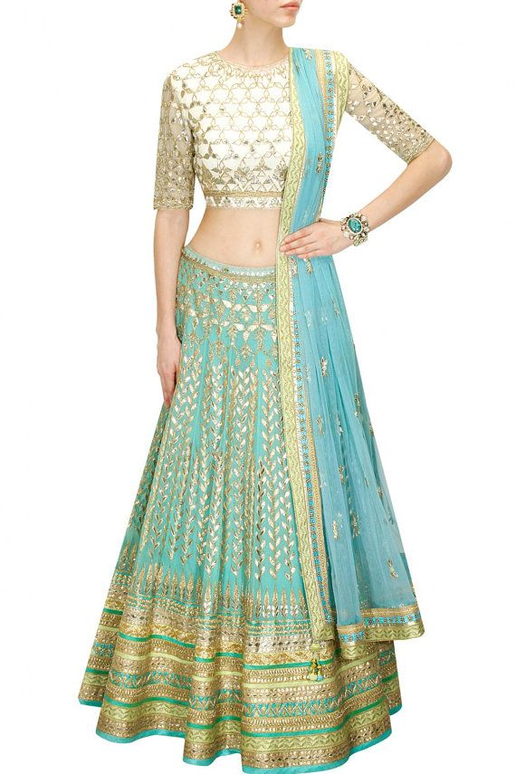 29090d2804 Aqua Blue Colour Bridal Wedding Lehenga by PanacheHauteCouture ...