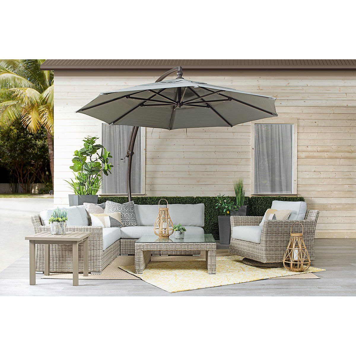 Cayman Gray Cantilever Umbrella Set Modular Sectional Outdoor