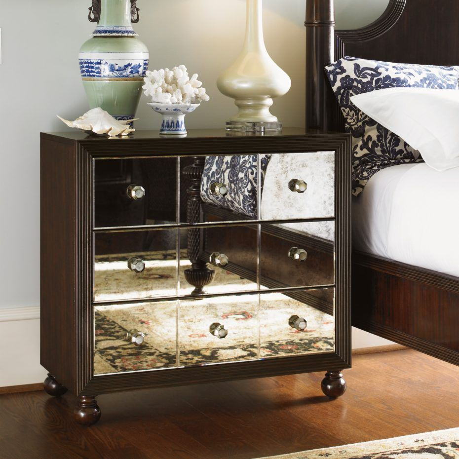Dark Brown Stained Wooden Night Stand With Mirrored Drawers