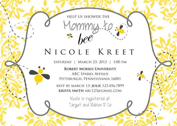 Beautiful Mommy To Bee Baby Shower Invitation Printable By DesiringJoy, $20.00