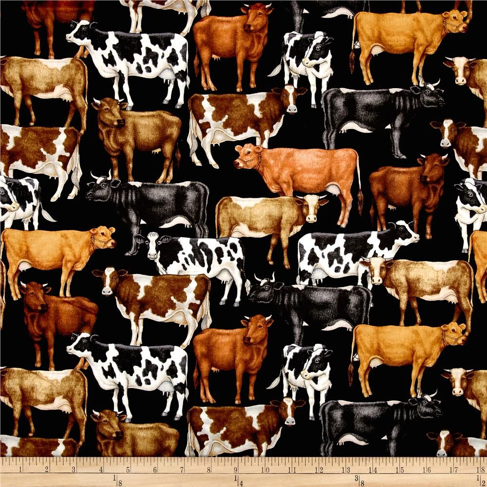 Fat Quarter Farm Animals Cows Sewing Cotton Quilting Fabric