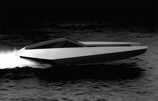 "An elegant black yacht called ""Code X"" by a Swiss company and a technology that uses internal combustion engines powered by solar panels and electric."