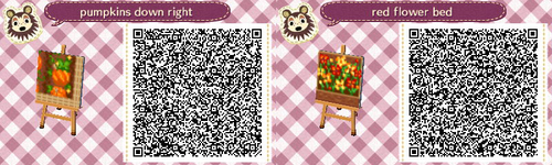 Animal Crossing QR Code blog  Pumpkin Path? :)  Lower Right Corner, Red Flower bed... Can be used Garden, Harvest moon Theme ect..
