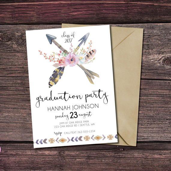 Graduation Party Invitation Class of 2017 Graduation Card - print grad cards