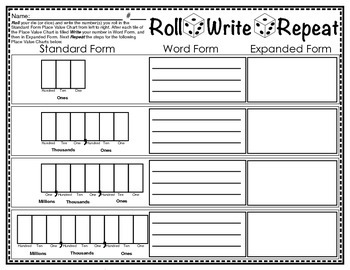 Roll Write Repeat Place Value Through Millions Dice Game