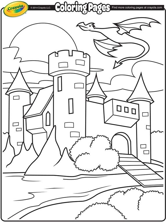 Castle with Dragon Flying Above on crayolacom Coloring Pages