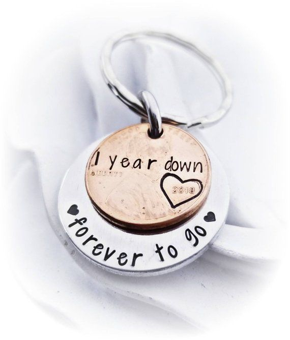 Anniversary Penny Keychain 1 Year Down Forever To Go Hand Etsy In 2020 First Wedding Anniversary Gift 1 Year Anniversary Gifts Anniversary Gift Ideas For Him Boyfriend