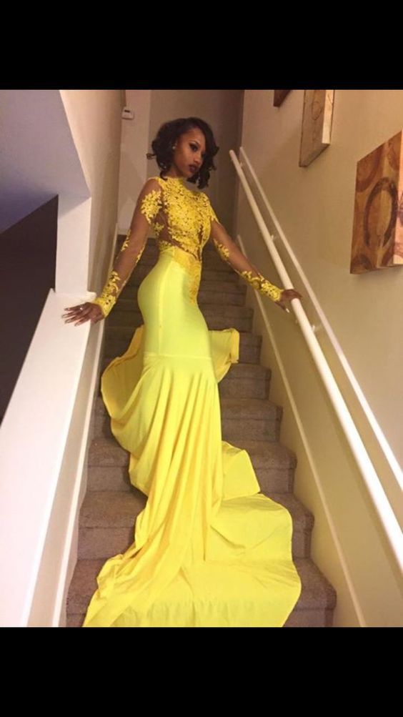 Yellow Prom DressMermaid DressFashion DressSexy Party DressCustom Made Evening Dress