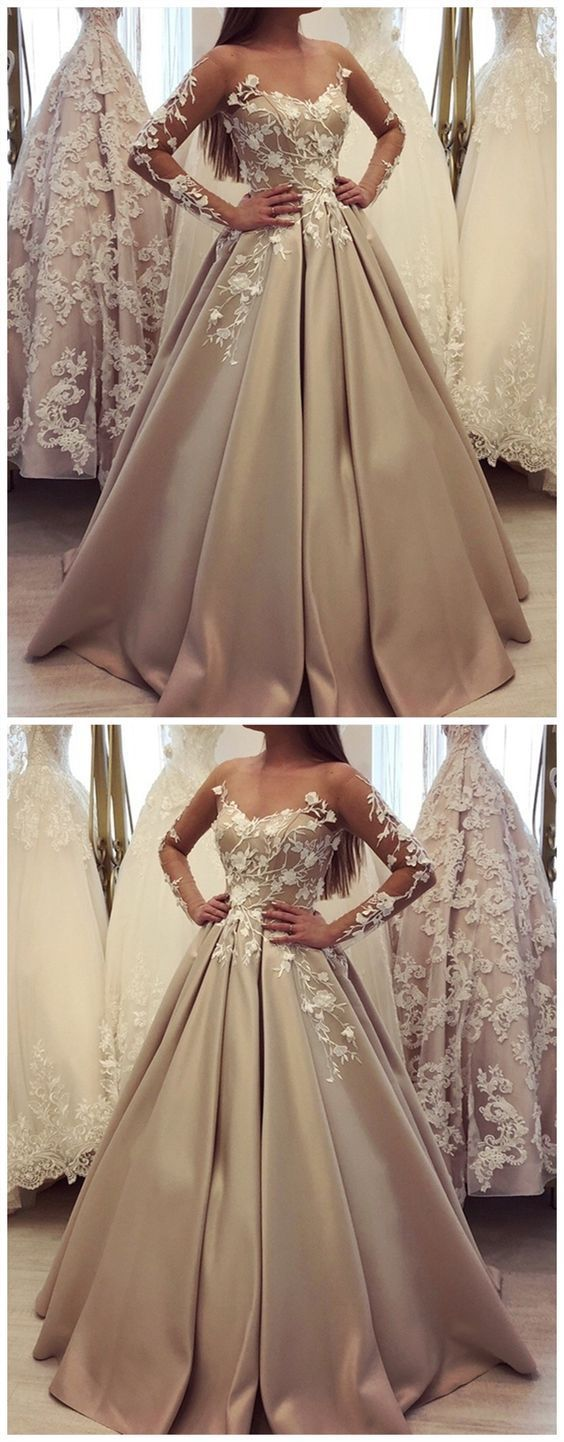 Generous long sleeve ball gown champagne prom dresses luxury lace