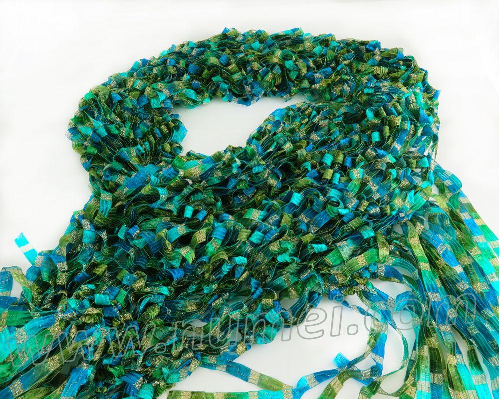 Free Knitting Pattern: Adeline Drop Stitch Ribbon Scarf | Easy ...