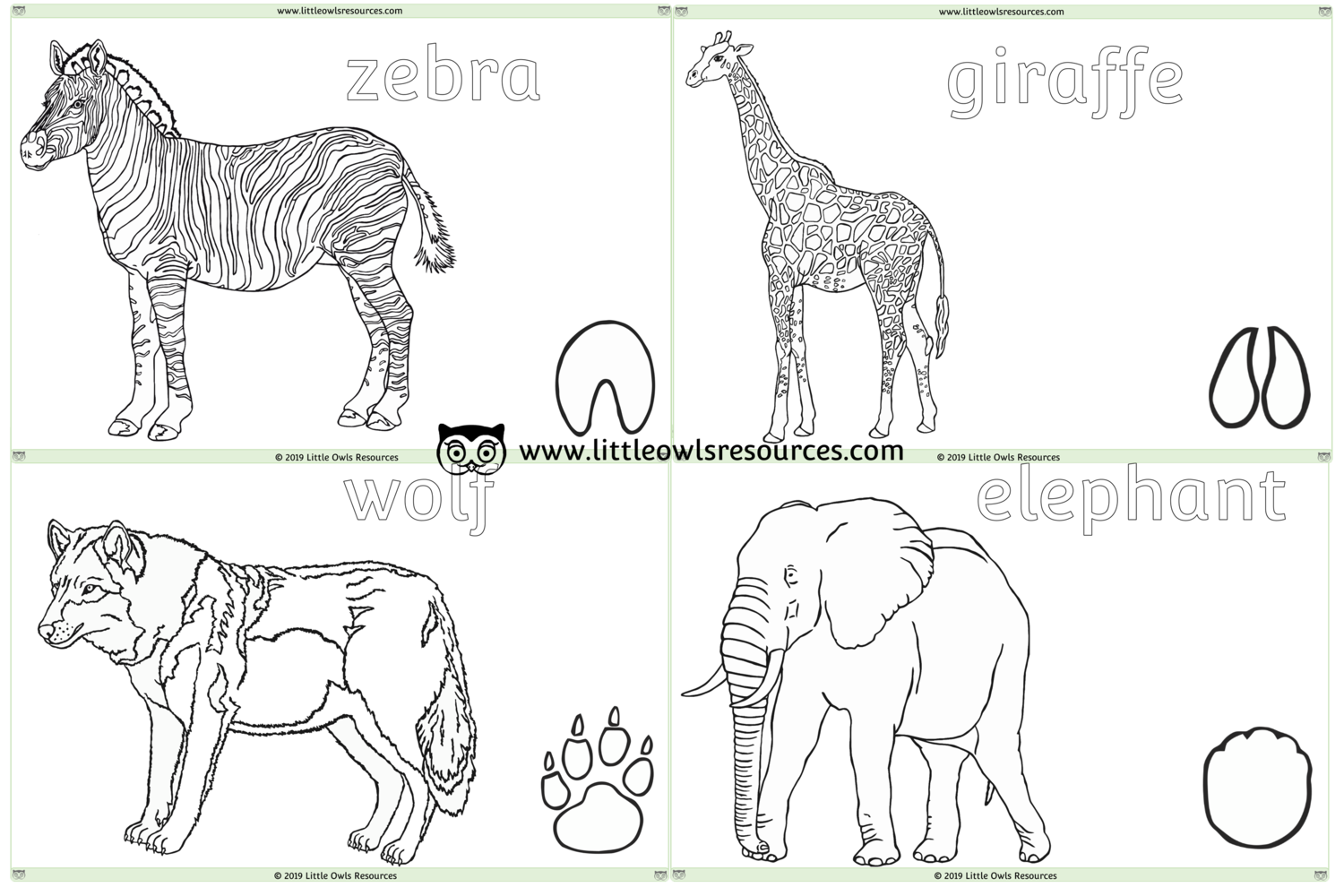 FREE Zoo Animal Colouring printable Early Years/EY (EYFS