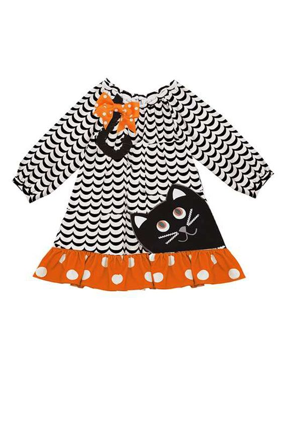 Purrty Halloween Kitty Cat Dress, kids Halloween clothes, girls Halloween clothes, fall girls clothes, cute Halloween outfits for girls, girls Halloween dresses, $35 JennyJoBoutique.com