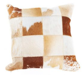 Patchwork Brazilian Cowhide 40 x 40cm cushion - Brown & White Handpicked Brazilian Hide  $79.95