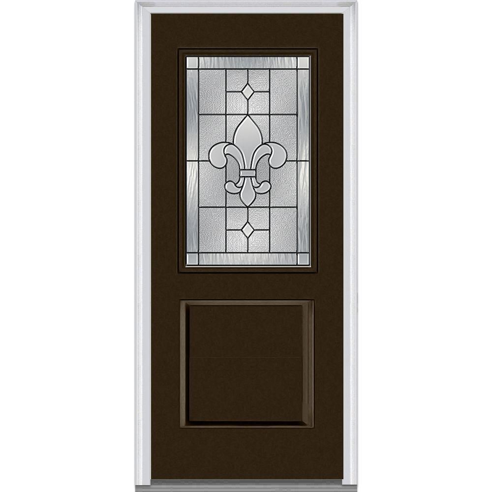 Mmi Door 37 5 In X 81 75 In Carrollton Decorative Glass 1 2 Lite Painted Fiberglass Smooth Exterior Door Brown Doors Exterior Doors Glass