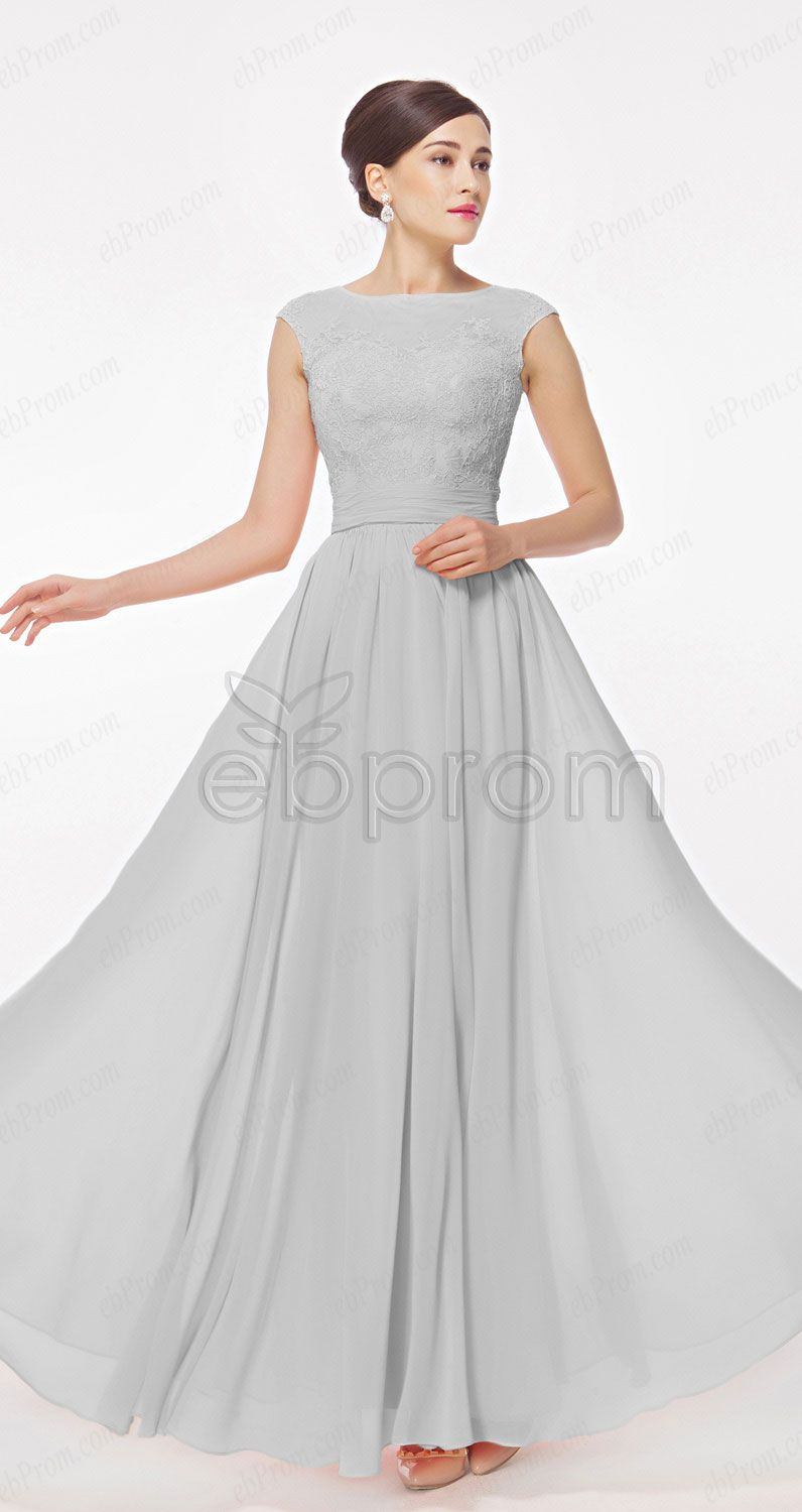 Modest neutral grey bridesmaid dresses cap sleeves long for Modest wedding dresses with long sleeves