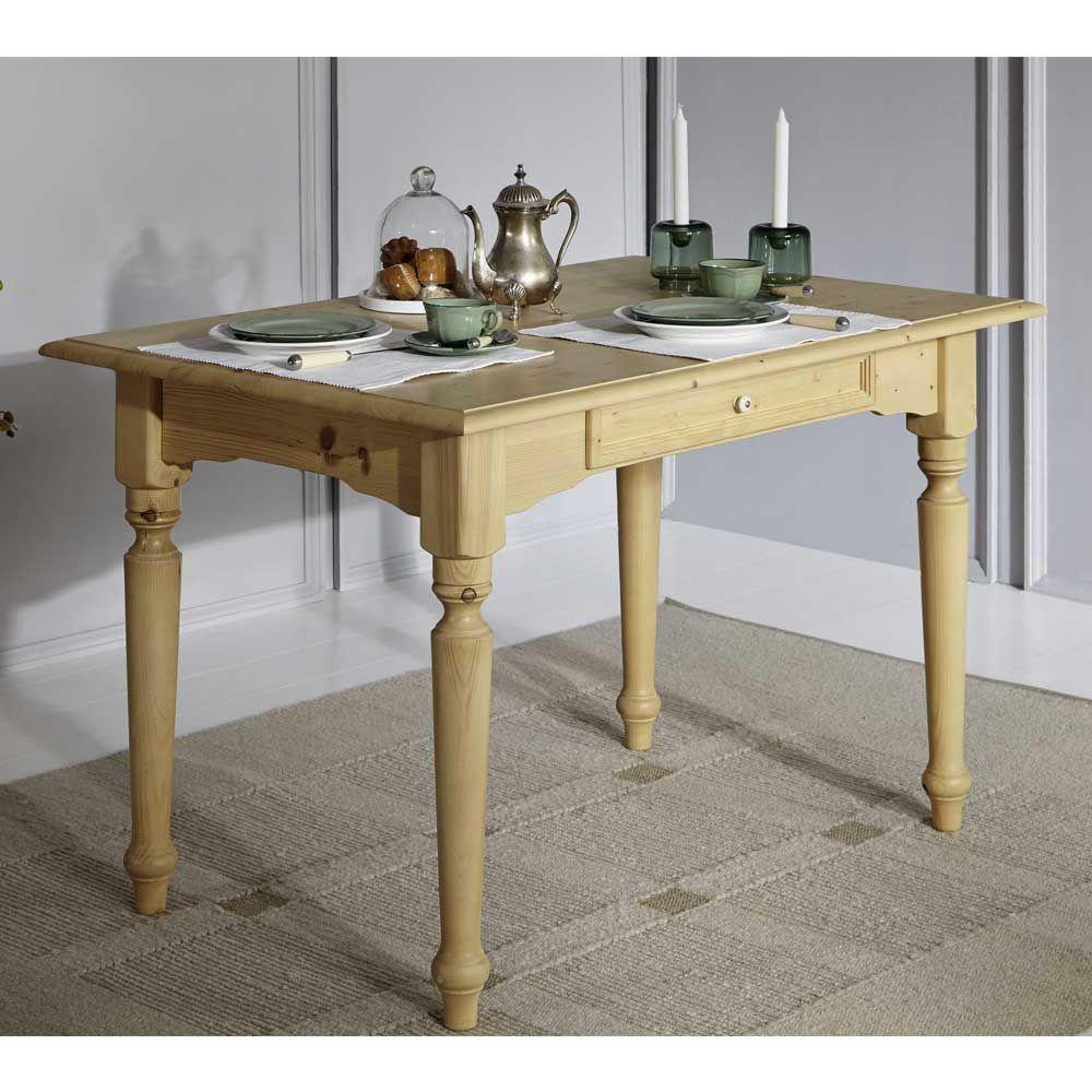 Esszimmertisch aus Fichte Massivholz mit Schublade Jetzt bestellen ...