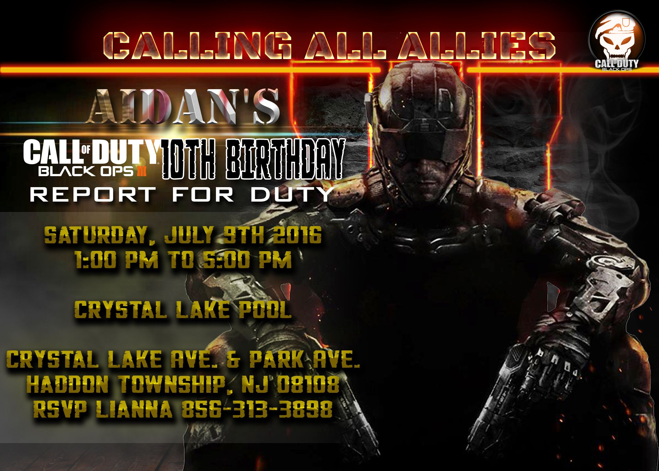 Call of Duty Birthday invitation Call of duty