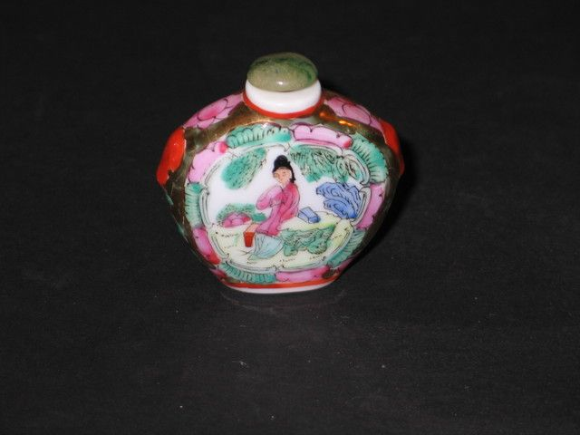 Vintage Chinese Snuff Bottle Hand Painted Porcelain with a Green Stone Jade ? Stopper. Starting at $16