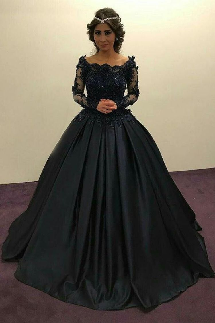 Ball Gown Long Sleeves Navy Blue With Lace Prom Dress Quinceanera Dresses Uk Pw450 Prom Dresses Long With Sleeves Navy Blue Prom Dress Long Long Sleeve Ball Gowns [ 1125 x 750 Pixel ]