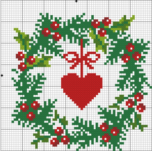 Christmas Garland with holly - Cross stitch Christmas ...