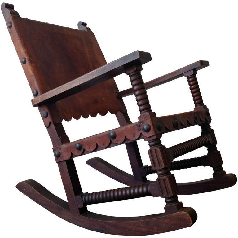 Mexican Spanish Style Rocking Chair Venadillo Wood And Leather C