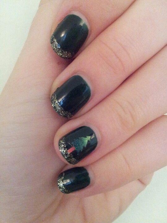 Xmas nails: dark green basic, golden glitter tips and tree sticker