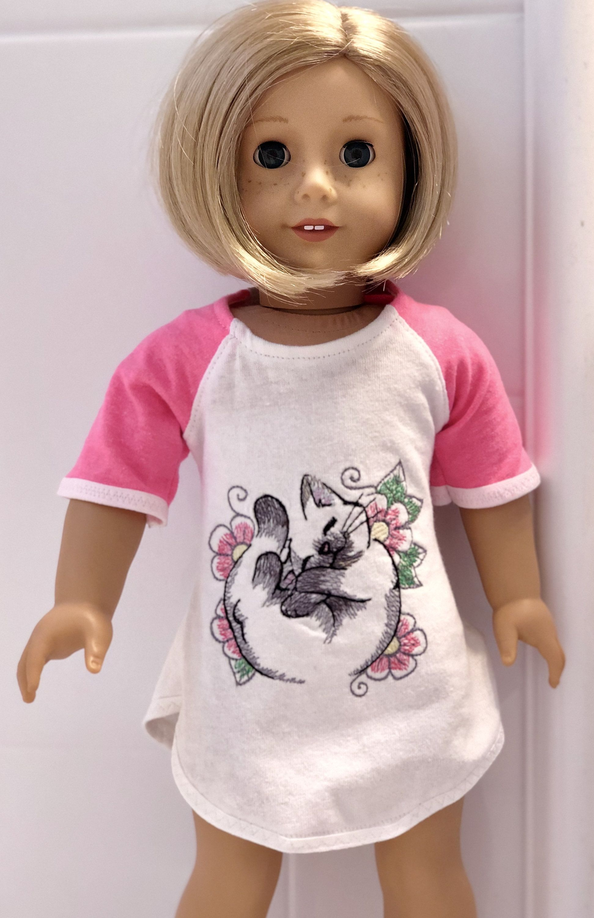 18 Doll Nightgown Pink and White with Kitty Made to Fit American Girl Doll #littledolls