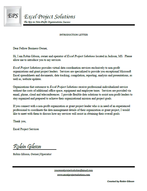 Business Introduction Letter Startups Leadership Nonprofits Administrative