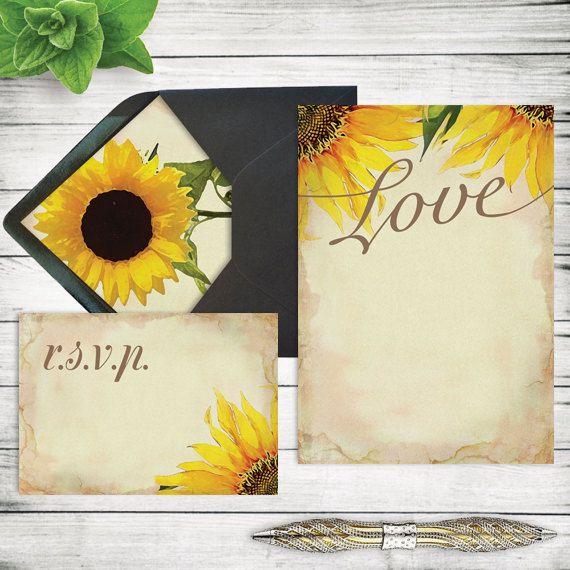 DIY Rustic Sunflower Wedding Invitation Template ~ Printable ...