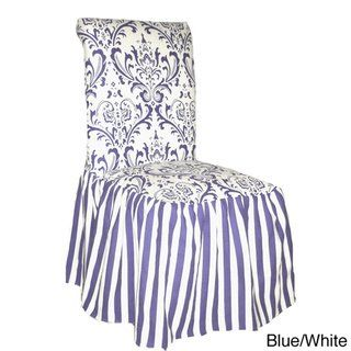 Damask and Stripe Dining Chair Slipcover (Set of 2) (White ...