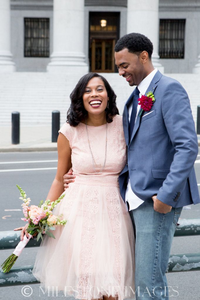 Ny Courthouse Wedding African American Natural Hair Blush