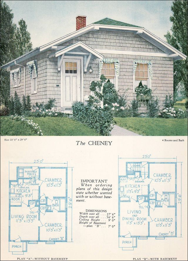 Clipped Gable Cottage The Cheney 1928 Home Builders Catalog Craftsman Style House Plans Craftsman House Plans Vintage House Plans