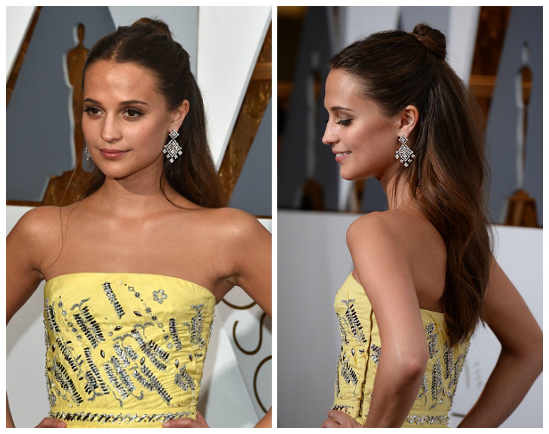 Meio coque, o penteado eleito por Alicia Vikander para o Oscar 2016