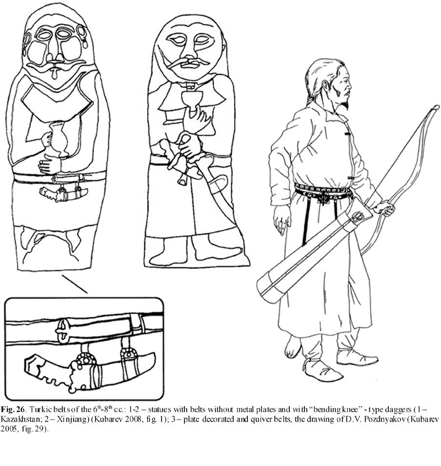 Early Turks: Male Costume in the Chinese Art, Second half of the 6th – first half of the 8th cc. ~ Turkic belts of the 6th - 8th cc. ~ statues with belts without metal plates and with bending knee daggers ~ archer with decorated quiver belt