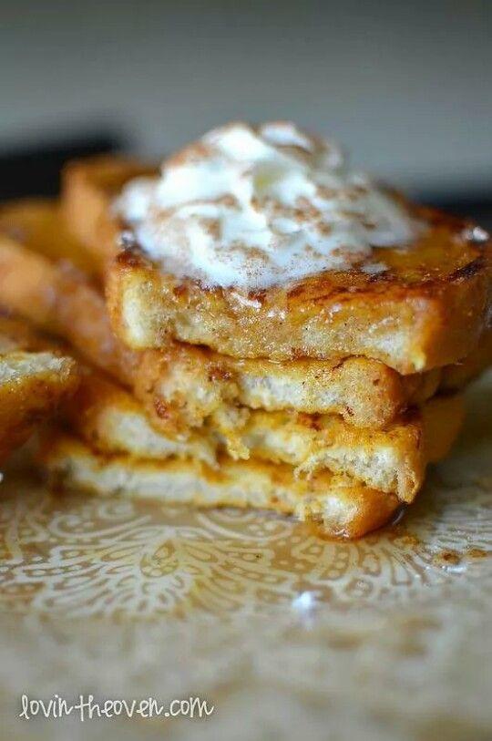 Tostadas francesas con el toque del pure de calabaza en mezcla