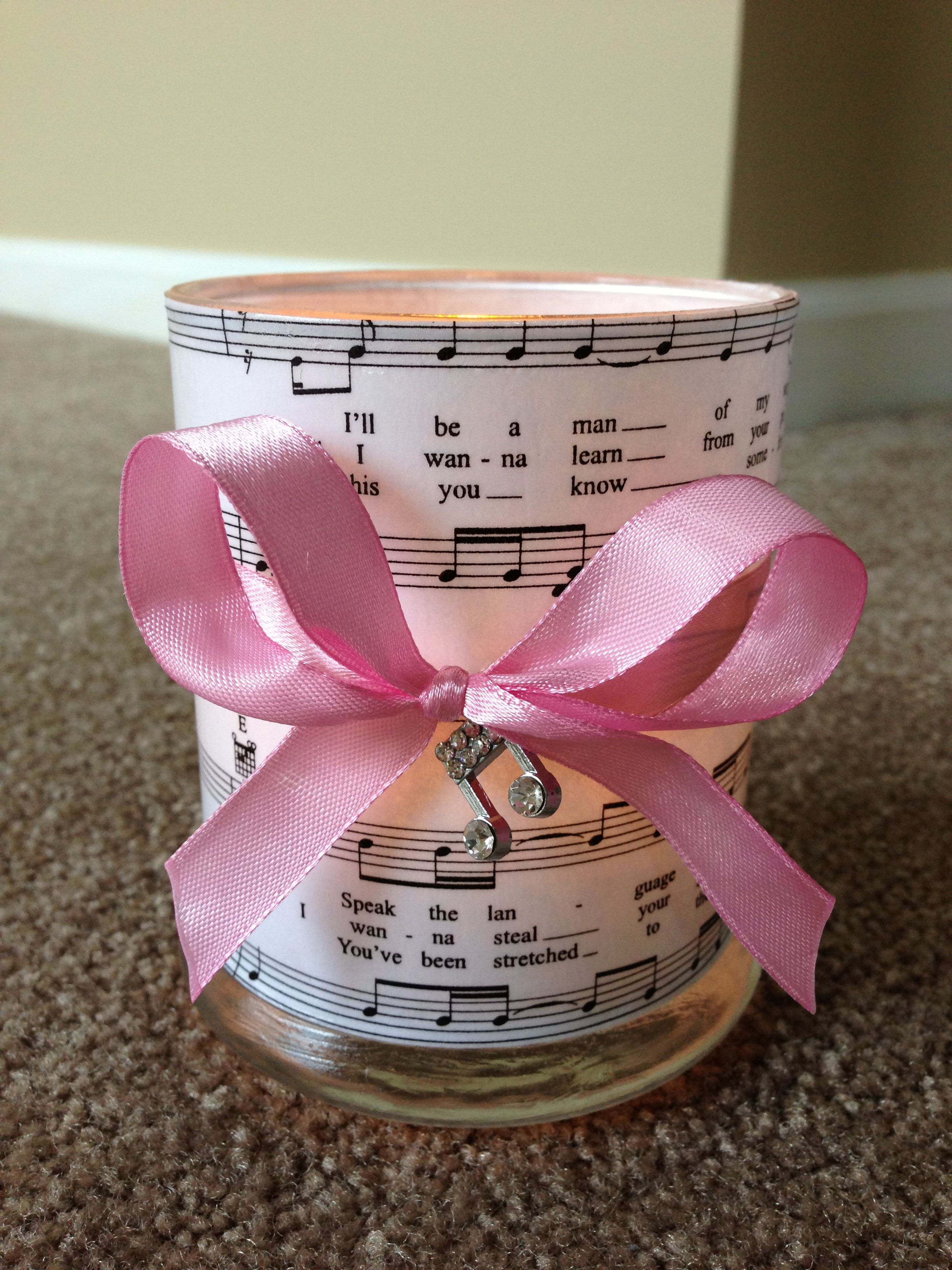 Our handmade candle votive wedding favors using our wedding song ...