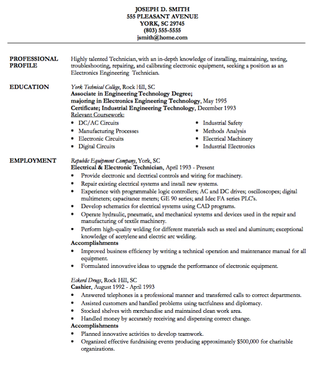 electronic technician resume example - http://resumesdesign.com ... - Technical Resume Examples