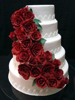 Bolo Casamento Vermelho E Branco Bolo De Casamento Simples