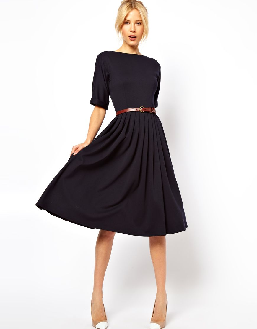 Asos Asos Midi Dress With Full Skirt And Belt At Asos Stylish Work Outfits Fashion Modest Dresses [ 1110 x 870 Pixel ]