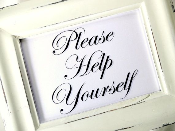Please Help Yourself Wedding Sign White Or Ivory By