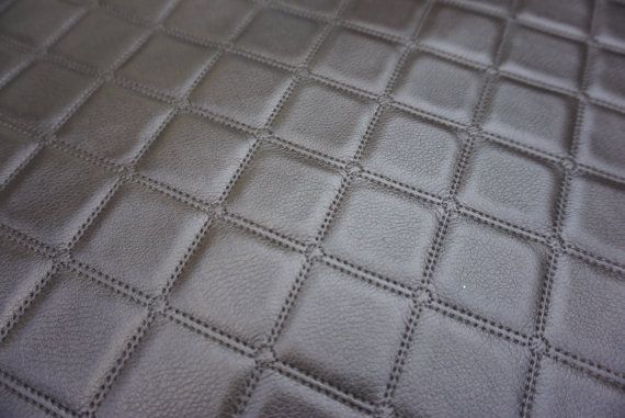 Brown Quilted Patchwork Stitch Look Leather Upholstery Fabric Vw