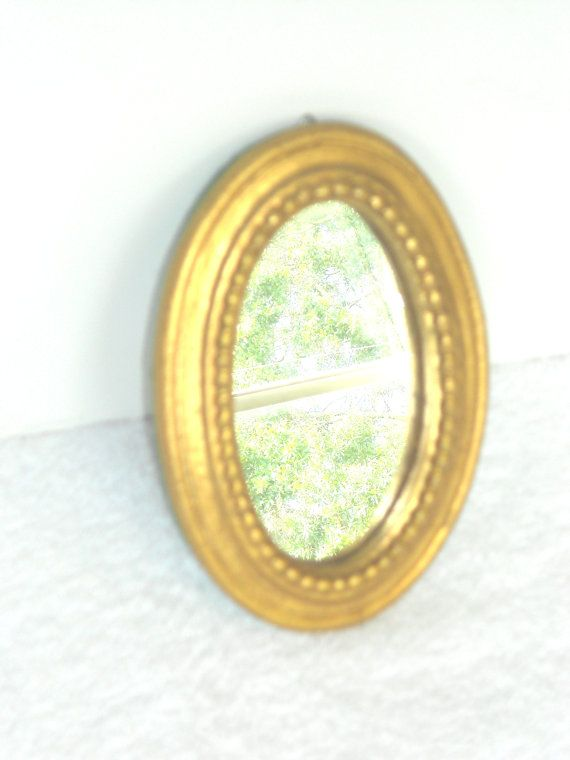 Home Interior, Vintage ,Small Gold Oval Wall Mirror ,Florentine ...