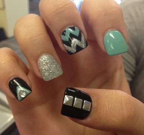 black silver with mint green nails  chevron nail art