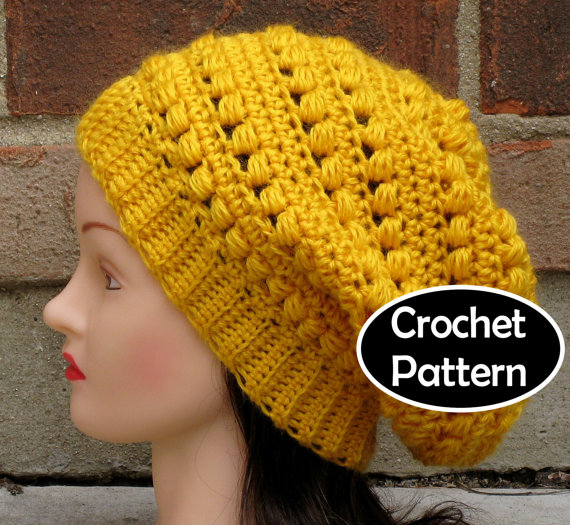 Crochet Hat Pattern Instant Download Aimee Slouchy Beanie Beret