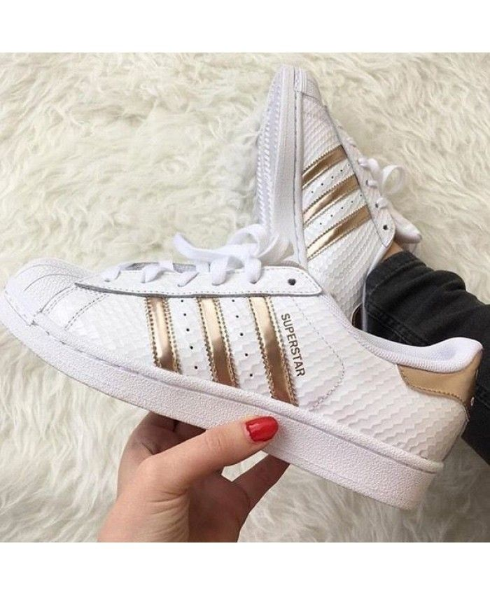 d2fbee27d0f7e4 Adidas Superstar Womens White Shoes with Gold Stripes Adidas most popular  style of women