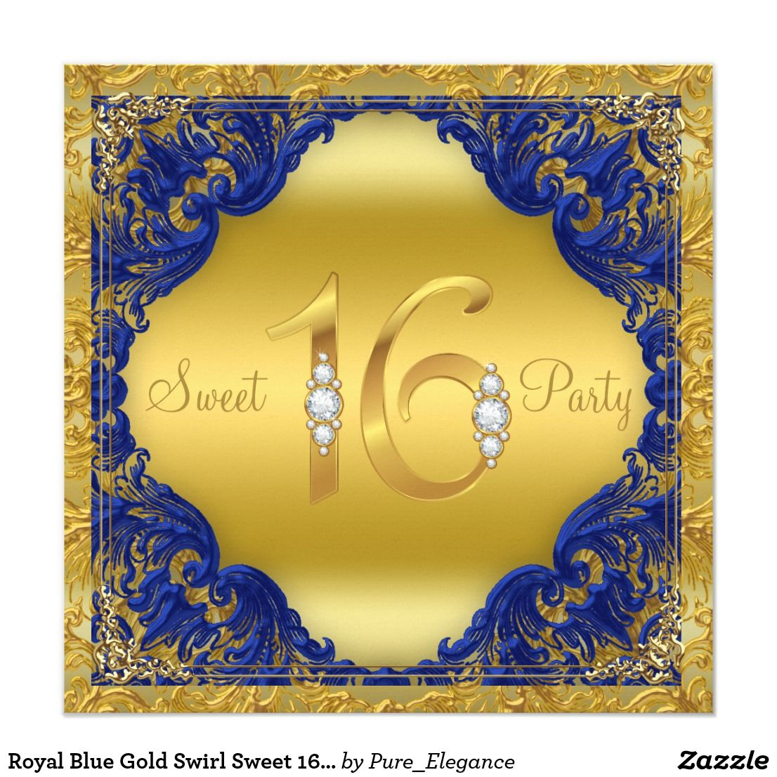 Royal Blue Gold Swirl Sweet 16 Party Card Royal Blue And Gold Sweet