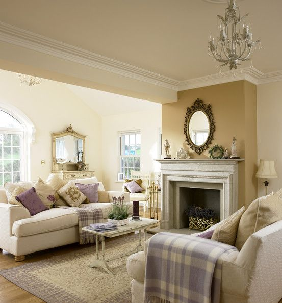 Serene Neutral Living Room Lavender Mauve Accents Fireplace
