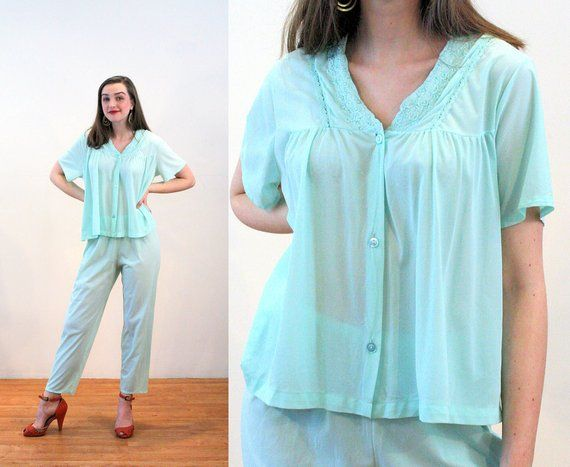 45dfe45296d2ce 80s Mint Green Pajamas M