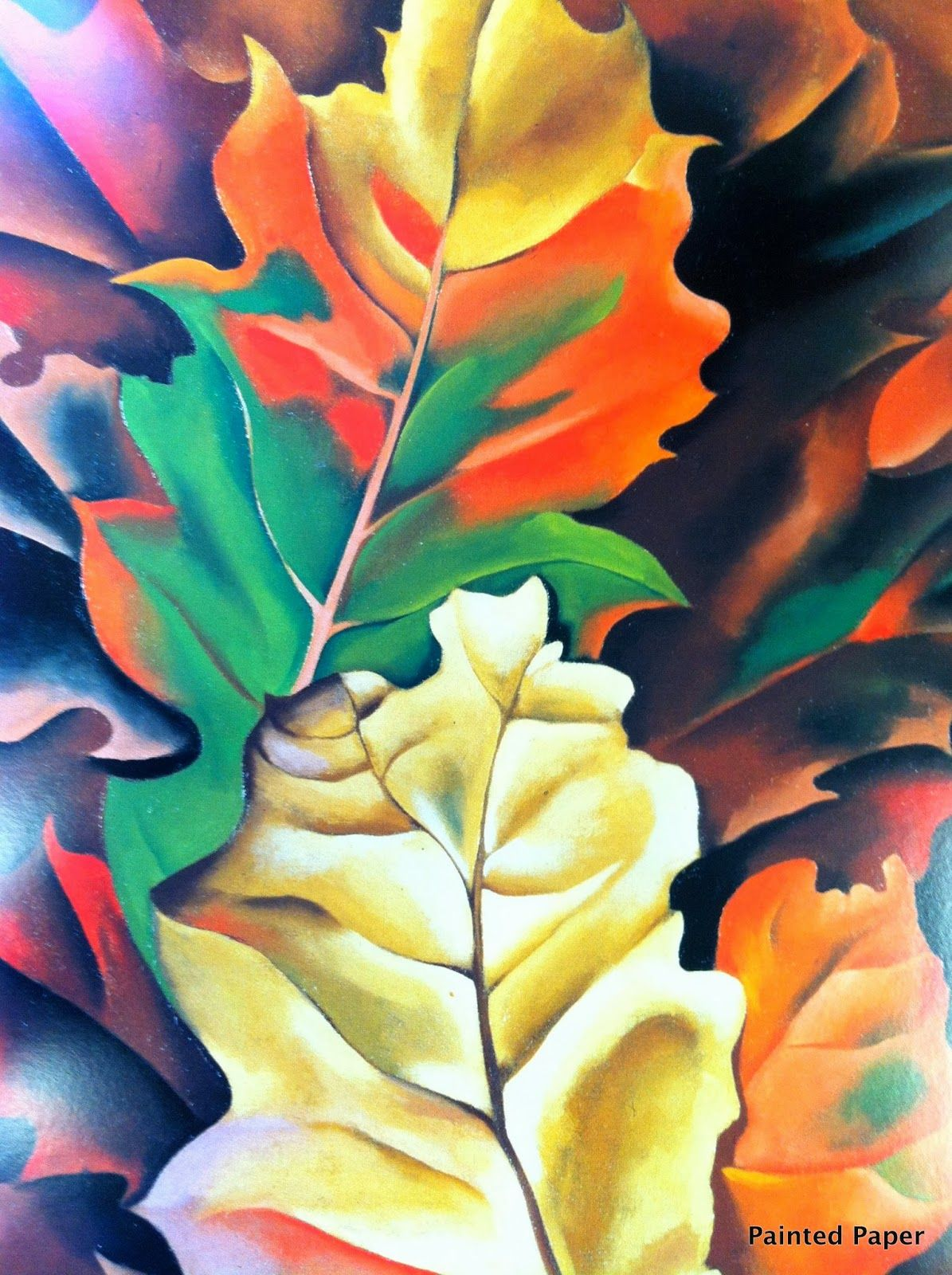 Painted Paper Fall Leaves At Lake George